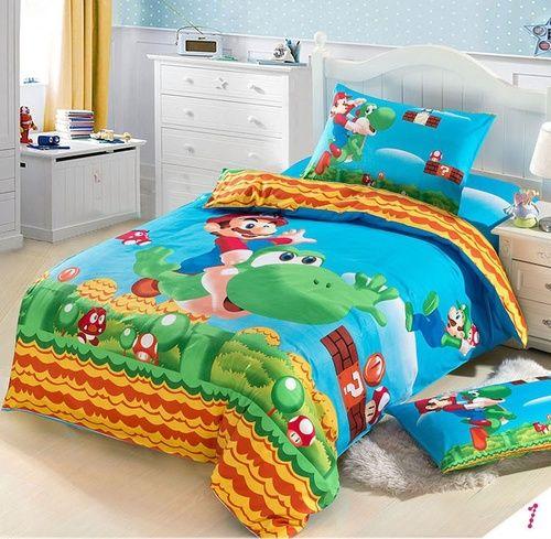 Super Mario Cartoon Children's Cotton Bedding Set 3PC Duvet Cover Flat Sheet Pillowslip Bedset