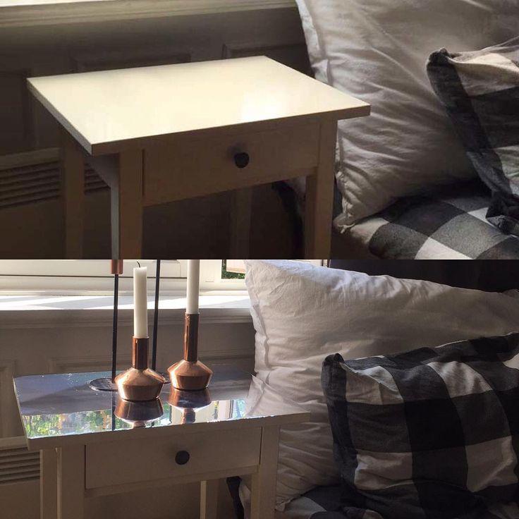 Et slitent nattbord fra Ikea ble finere enn når det var nytt med speileffektfolie 😍✨ #diy #kontaktplast #ikeahack #speileffektfolie