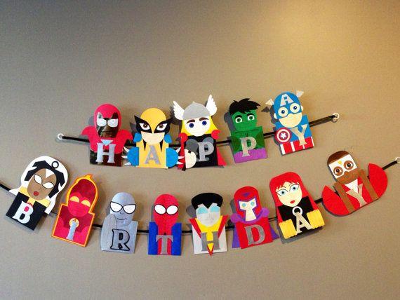 Superhero banner, avengers banner, marvel banner, DC comics banner. www.craftophologie.etsy.com