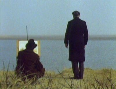 Paxton (Peter Vaughan), Dr. Black (Clive Swift) and the incredible Norfolk setting - A Warning to the Curious (1972)