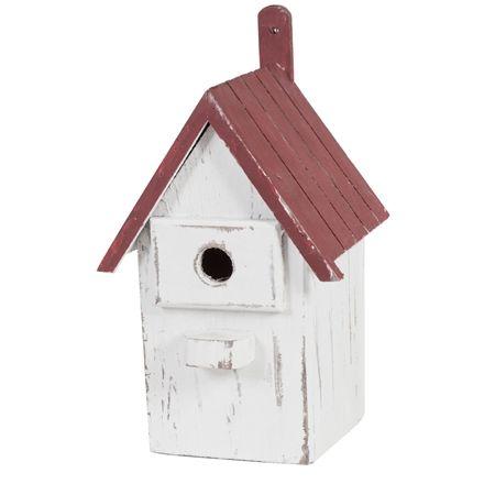 Casetta per gli uccellini con tetto rosso
