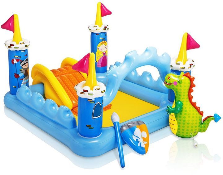 Intex Fantasy Castle Play Center Inflatable Kiddie Pool  Storm the castle! Kids are sure to have endless hours of fun pretending to be the king or queen of the Intex Fantasy Castle inflatable pool.Soft slide with landing padBuilt-in water sprayer attaches to garden hose