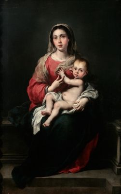 """Auction Lot: 35017143. Bartolomé Esteban MURILLO (Seville, 1617 – Cadiz, 1682). """"Virgen con Niño"""". Oil on canvas. Antique frame. 166 x 106 cm, 188 x 127 cm (frame)."""