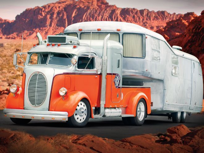 1938 Ford COE and Vintage 1951 Spartan Trailer - click for more pics