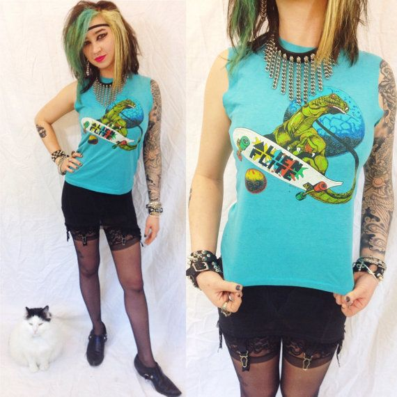 Vintage 80s ALIEN FLITE skate shirt womens size xs small kids large skateboard thrashin rock punk thrasher skater new wave 1980s tank top