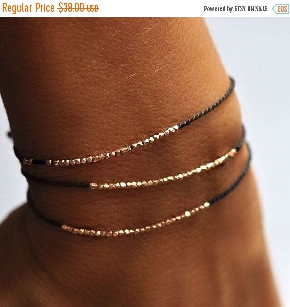 Black Friday Sale Delicate rose gold and silk beaded bracelet - friendship bracelet #blackfriday #shoppingday #jewelry