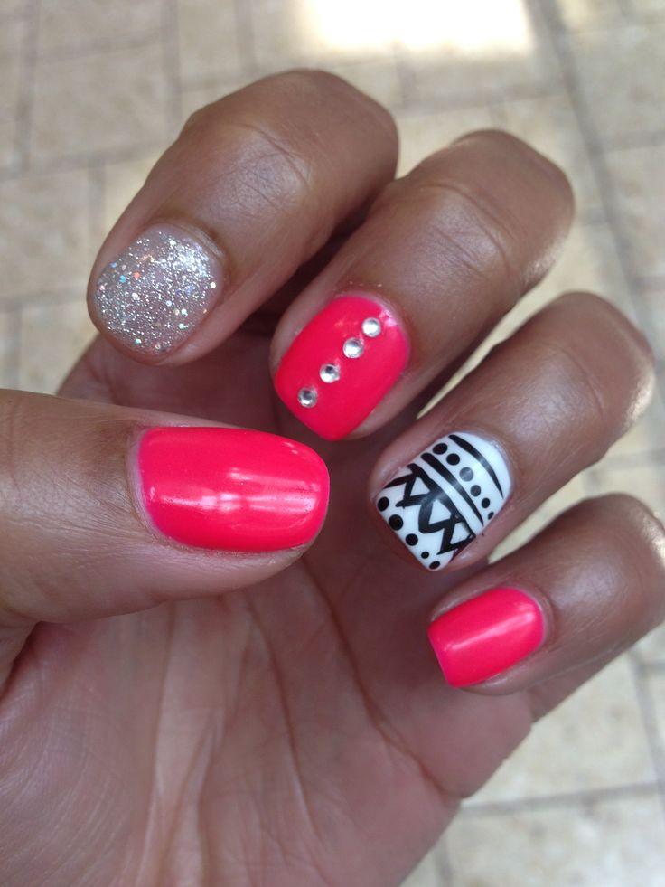 aqua and blue nail design