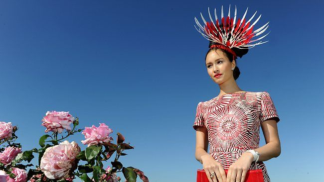 Red alert: Melbourne Cup Fashions on the Field winner Chloe Moo. See more at The Australian