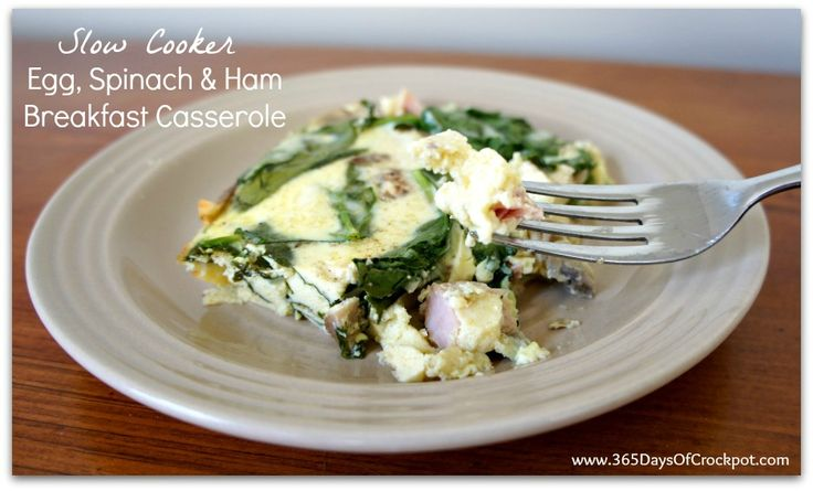 Recipe for Slow Cooker Egg, Spinach and Ham Breakfast Casserole. I also added fresh onion and tomatoes and it turned out great!