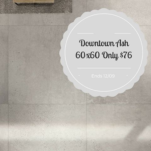 The sale continues! Today we are offering our popular porcelain concrete look Downtown Ash Lappato and Matt 60x60 Italian tile for only $76m2. Sale ends on the 12/09 while stocks last #designtilesrockdale #downtown #concretelook #sale