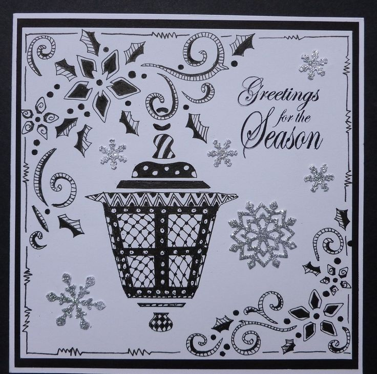 Tangled ' Lantern' Christmas card.  Made using Imagination Craft's Lantern stencil.   I drew the outline and filled in the design with tangled patterns.   June 2014.   Designed by Jennifer Johnston.