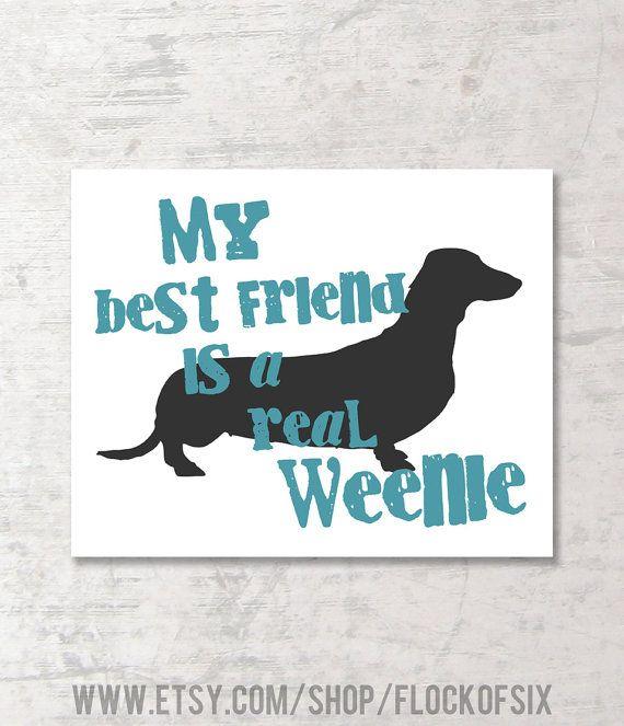 """My Best Friend is a Real Weenie 8 x 10"""" Graphic Art Print - Dog Lover - Dachshund - Wiener Dog - Dog Humor"""