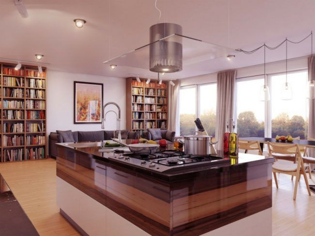 Design Küche Mit Kochinsel Originell Holz Braun Weiss Ombre Wohnbereich  Interieur