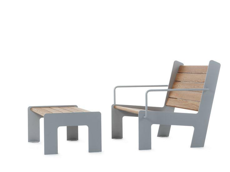 Steel and wood garden armchair with footstool LOWCHAIR - Nola Industrier