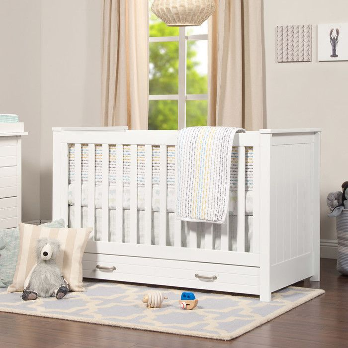 The Asher 3-in-1 Convertible Crib brings the nostalgic style of coastal cottage homes to a smart space saving silhouette. Front and side panel headboard detailing deliver a relaxed and charming aesthetic to the nursery. Spacious under drawer space keeps clothes, blankets and other necessities within easy reach. A valuable storage solution that grows with baby.
