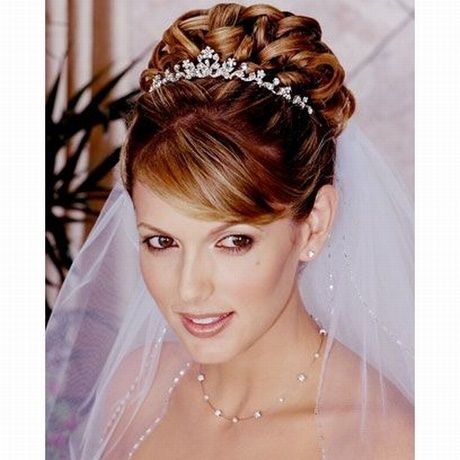 Bridal hairstyles pinned up with a diadem