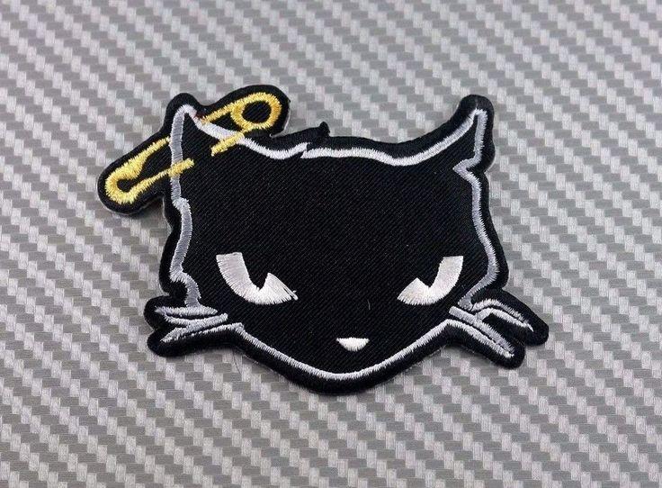 Embroidered Patch Iron Sew Logo Emblem BLACK CAT pet cartoon kid funny 2 #th