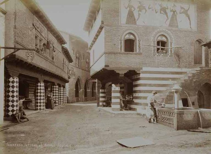 Picture from 1884. The main street with the medieval houses and Salbertrand's fountain. Borgo Medievale Torino.  www.borgomedievaletorino.it