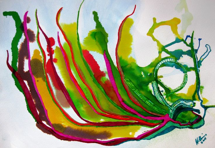 Rooted in Whimsy - acrylic and watercolor abstract on cold pressed paper. Artist information and other works may be found at rloliverartist.com.
