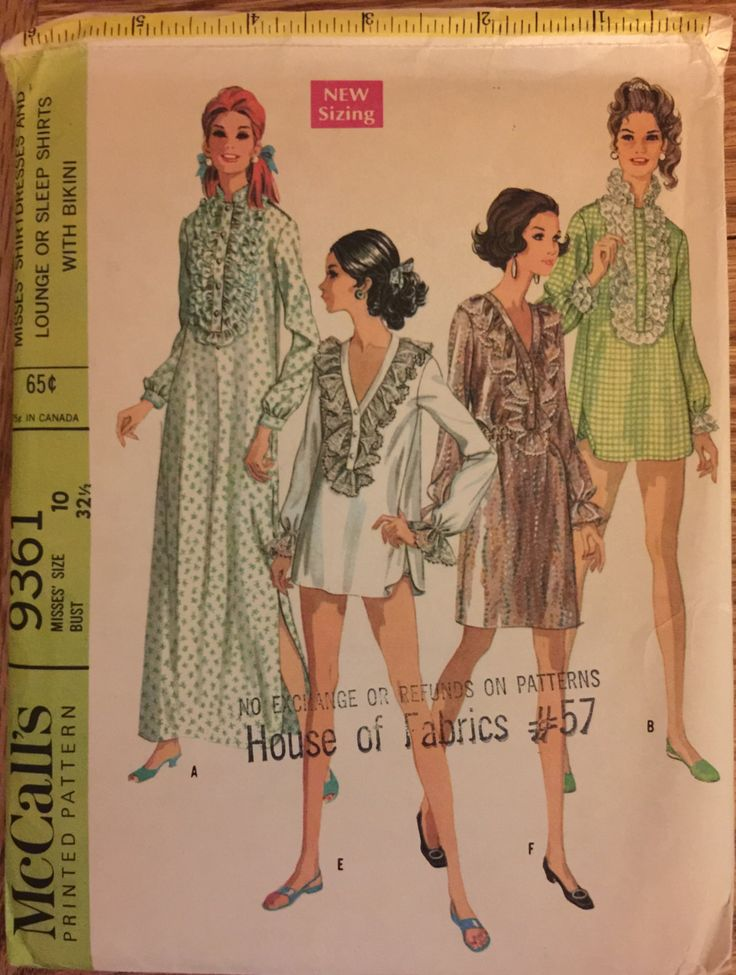 """VTG 9361 McCalls (1968) woman's shirtdresses, lounge or sleep shirtsw/bikini.  Size 10, Bust 32"""". Complete, unused, FF. Excellent condition. by ThePatternParlor on Etsy"""