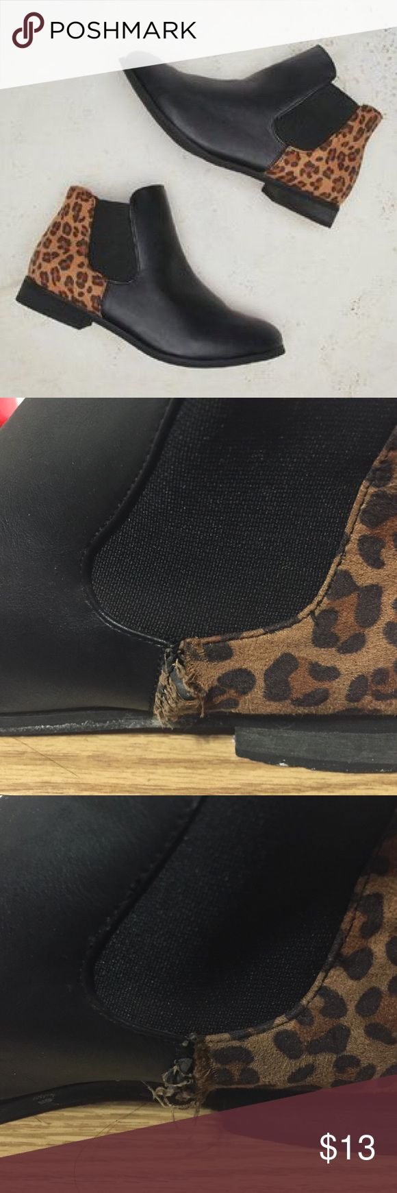 Leopard ankle boots Wet seal leopard print angle boots, size 8! Putter left shoe has some stretching(2nd pic) and inner right shoe(3rd) also a slight scuff Wet Seal Shoes Ankle Boots & Booties