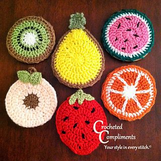 Assortment of summer fruits. Large coasters (4 inch diameter) to hold mugs and pilsners.