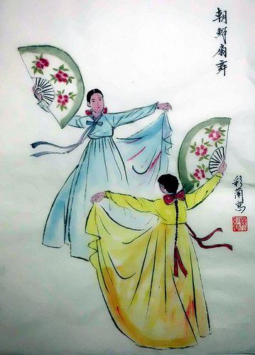 朝鮮扇舞 Korean Dance with Fans | Chinese painting 23cmx35.5cm C… | Flickr
