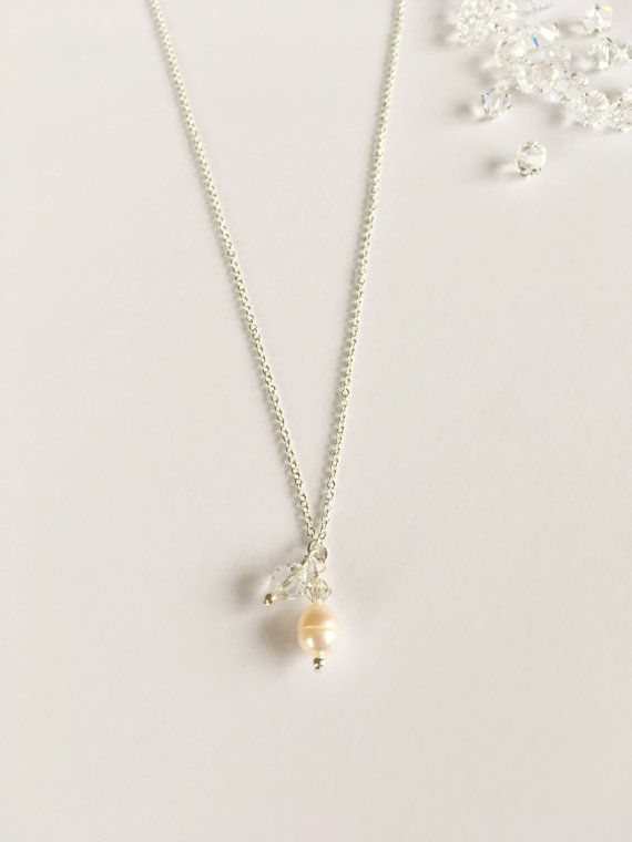 Pearl and Crystal Necklacespecial by WhitePebbleJewellery on Etsy