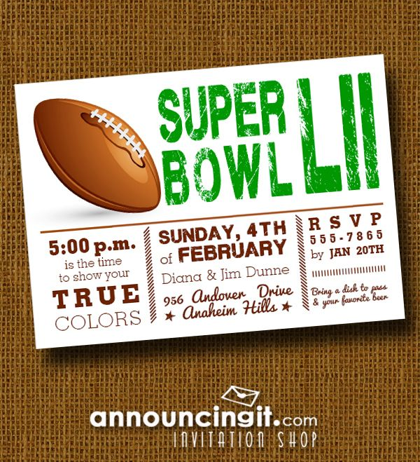 Football Super Bowl LII Showdown Party Invitations - See our entire collection at Announcingit.com