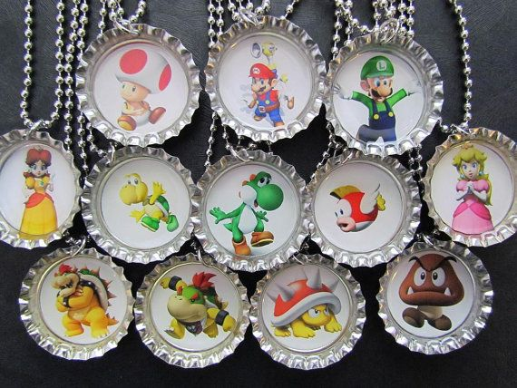 Mario Bros and Friends Bottle Cap Party favors (12) / add on for 2 dollars each. $24.00, via Etsy.