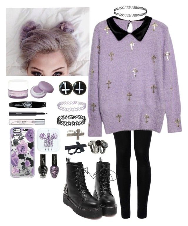 """purple  pastel goth"" by howlingwolf0-0 ❤ liked on Polyvore featuring Wolford, Korres, Topshop, MAC Cosmetics, New Look, Casetify and Club Manhattan"