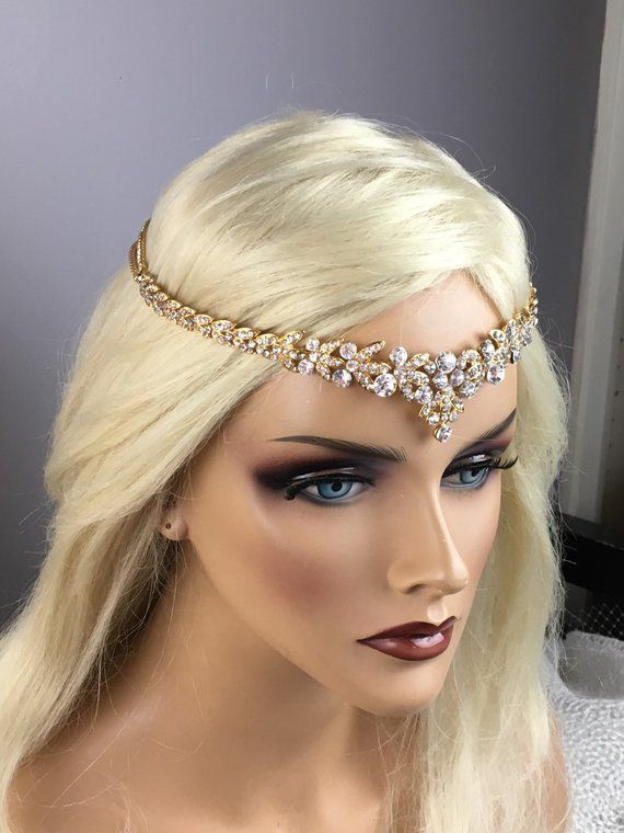 Jewelry Sets & More Jewelry & Accessories New Fashion Indian Forehead Jewelry Gold Chain Crystal Elastic Wide Hairbands Headdress Hair Accessories Evident Effect