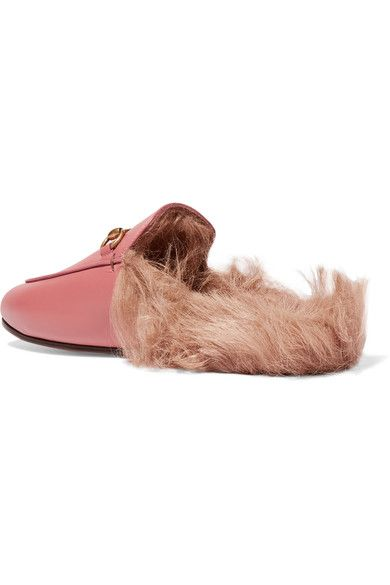 Gucci - Horsebit-detailed Shearling-lined Leather Slippers - Pink - IT