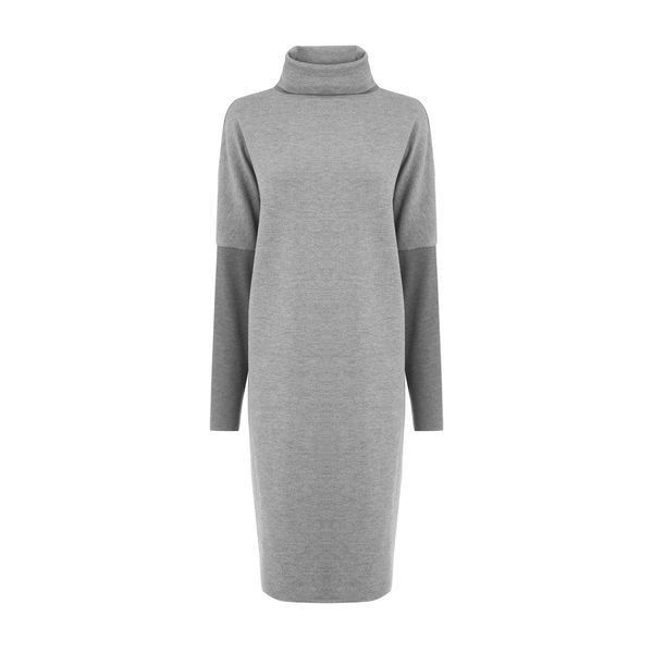 Warehouse Warehouse Rib Detail Roll Neck Dress Size 6 ($43) ❤ liked on Polyvore featuring dresses, dark grey, dark gray dress, roll neck dress, dark grey dress, high neckline dress and warehouse dresses