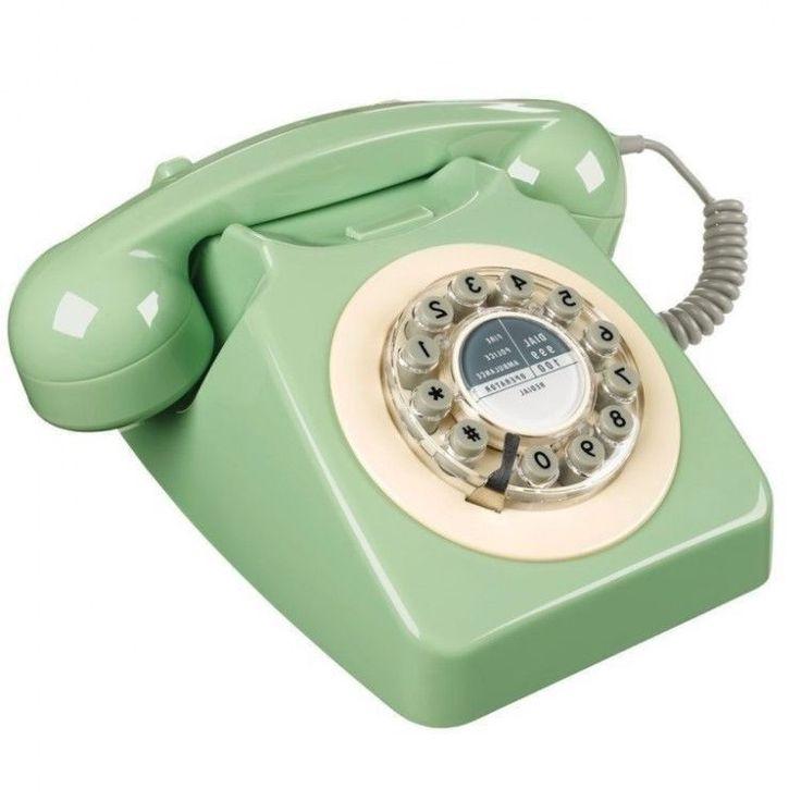 Vintage Green Desk Telephone Retro Corded Phone Gift Push ...