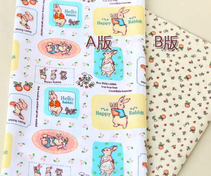 Мультфильм кролик хлопчатобумажная ткань лоскутное шитье детское постельное белье одежда подушка ткани ткань costura tecidos ручной поделки ткань m10 купить на AliExpress