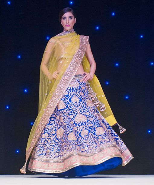 Manish Malhotra blue yellow gold lengha indian wedding