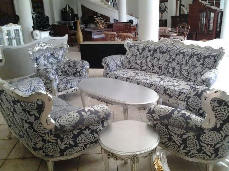 Set Sofa Kursi Tamu Ukir Cat Silver