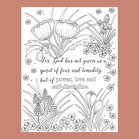 2 Tim 17 Coloring Page Bible Verse Christian
