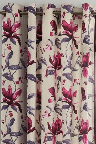 Buy Watercolour Magnolia Print Eyelet Curtains from the Next UK online shop