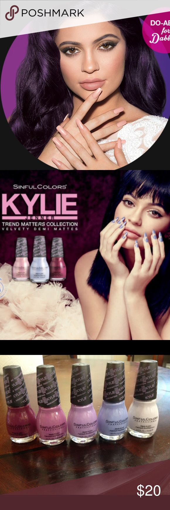 Kylie Cosmetics * Nailpolish Set (5) Nailpolish Set Kylie Makeup and Nailpolish Demi Matte Nailpolish Trend Matters Sinful Colors professional nail polish   * Krushed Velvet * Karma * Silhouette  * Kurtsey  * Kashmere   Colors are listed from left to right from picture taken above   Each nail polish retails $5 on Kylie's Website At target I believe they retail for $4 Kylie Cosmetics Makeup Lip Balm & Gloss