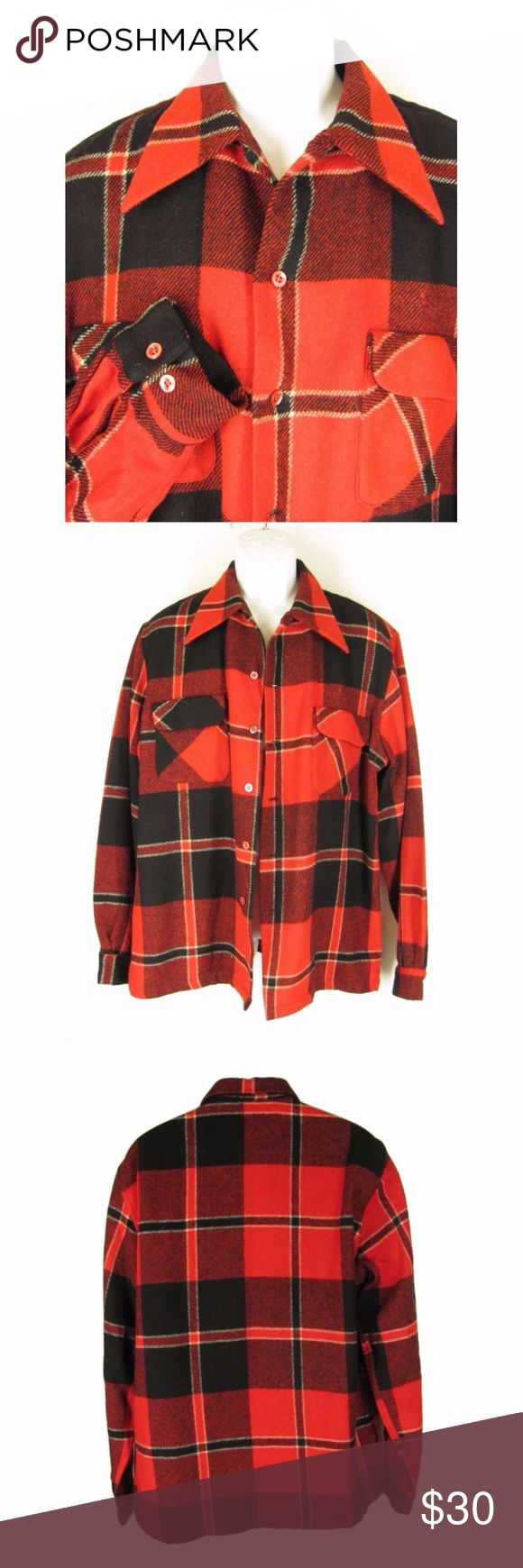 "Vintage McGregor Wool Shirt L Red Black Plaid Here is a manly vintage 1950's McGregor shirt jacket. Made of 100% virgin wool in a red, black and white big plaid. It has a wide pointed collar, button down front, 2 chest pockets with flap closure and long sleeves. The hem is straight, no side vents. There is a quarter lining in the back. 3 small holes  on the front, 1 under arm.  20"" from shoulder seam to shoulder seam 25"" across chest 26"" from shoulder seam to bottom of sleeve 32"" from top of…"