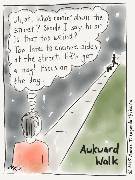 Awkward Walk. Introvert Cartoon from http://infjoe.wordpress.com.