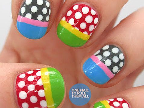 Loving these funky polka dot #nails. #nailart http://www.ivillage.com/best-nail-art-teen-and-tween-girls/6-a-527284#