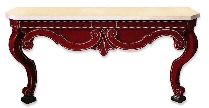 Studded Velvet Console Table - designed for interior designer Alidad