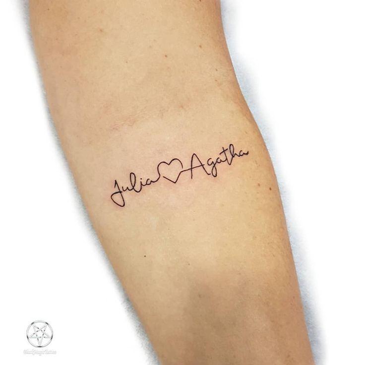 Tatouage Nom et battement de coeur en l'honneur des filles Merci Francine pour votre confiance …  – Tattoo ideen
