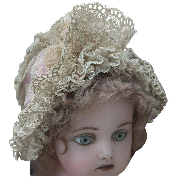 Antique Original French Wire Framed Bonnet Hat  for Jumeau Bru Steiner Gaultier Eden Bebe and other french or early german doll