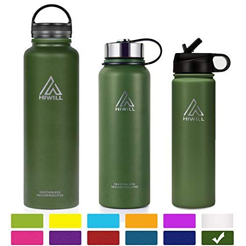 07d2b97ef0 Hiwill Stainless Steel Insulated Water Bottle 2 Lids, Cold 24 Hours Hot 12  Hours,
