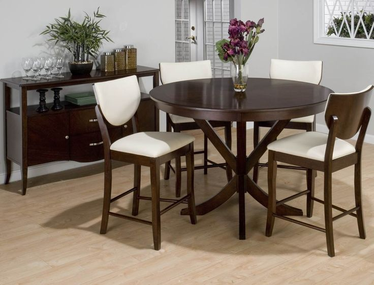 Jofran Satin Street 5 Piece Round Counter Height Set