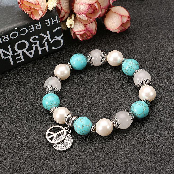 JASSY® Platinum Plated Turquoise Pearl Natural Stone CND Peace Symbol Anallergic Bracelet